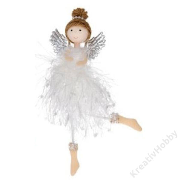 Angyal akasztós textil 17 cm fehér