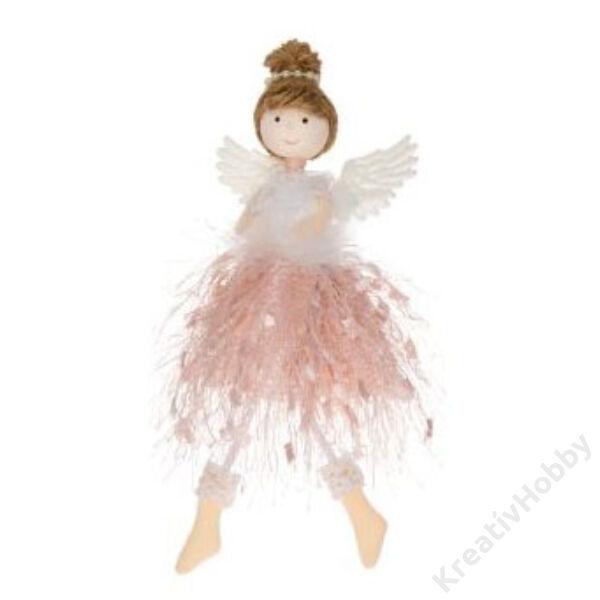 Angyal akasztós textil 17 cm ,rózsaszín