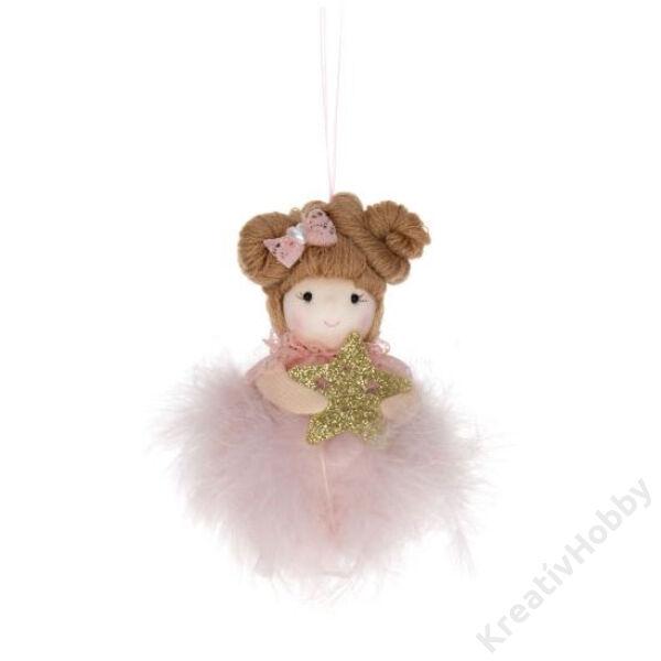 Kislány tollas akasztós csillaggal,szívvel textil 12 cm ,rózsaszín