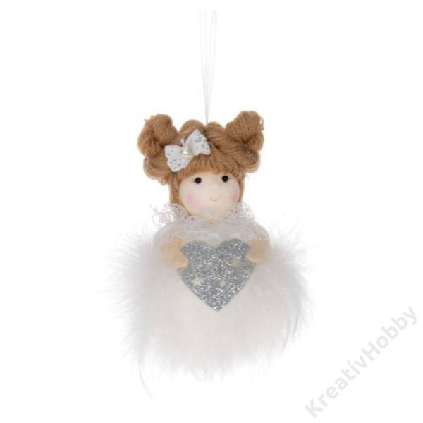 Kislány tollas akasztós csillaggal,szívvel textil 12 cm fehér,