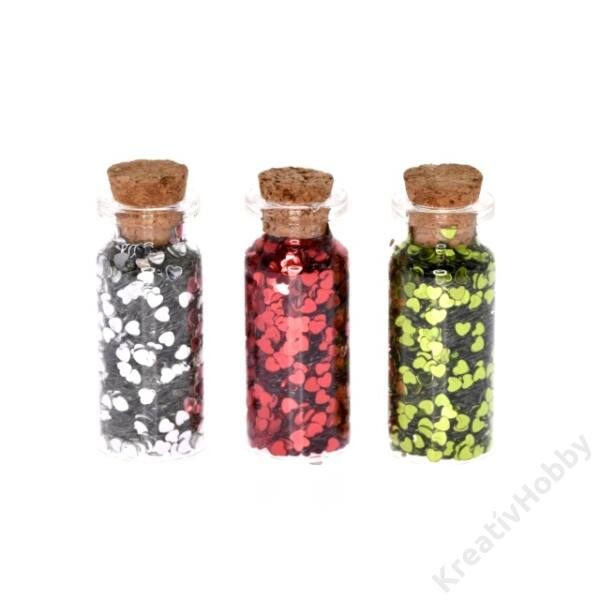 Fiola szív alakú konfettivel üveg 5,5x2,5cm zöld,piros,ezüst 3db/cs