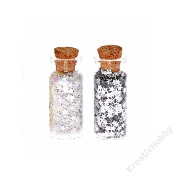 Csillag konfetti fiolában, 5,5*2,5cm, fehér-ezüst, 2db/cs