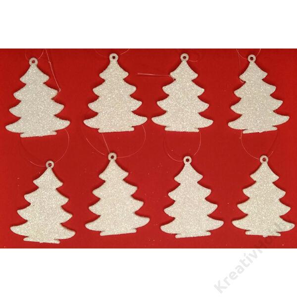 Fenyőfa függődísz,csillámos fehér 5,5x4cm8db/cs