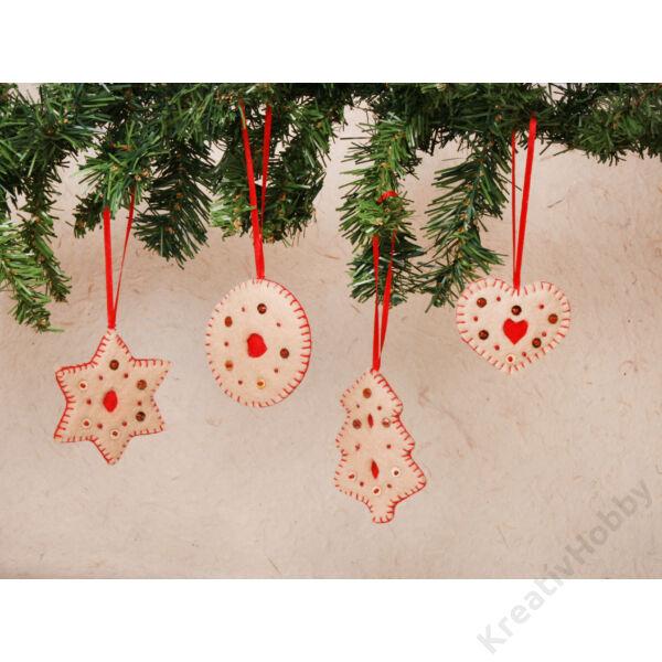 Filc mézeskalács karácsonyfadíszek 4db/cs