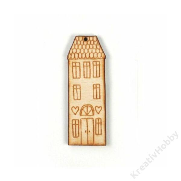 Fa lap,ház szívvel 2x6cm