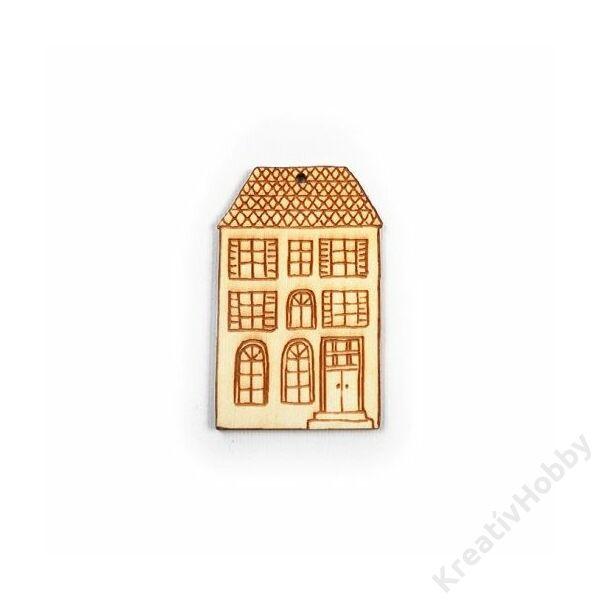 Lapos tetejű ház fadísz 3,6*6cm