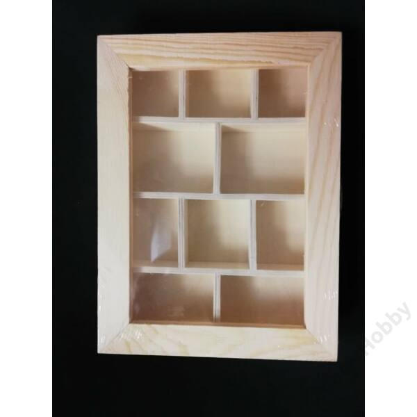 Fadoboz, 10 rekeszes átlátszó tetővel, 20,5 x 15 x 3 cm