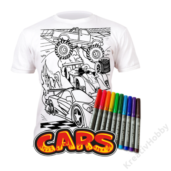 Színezhető pólók -Autók, korosztály 7-8