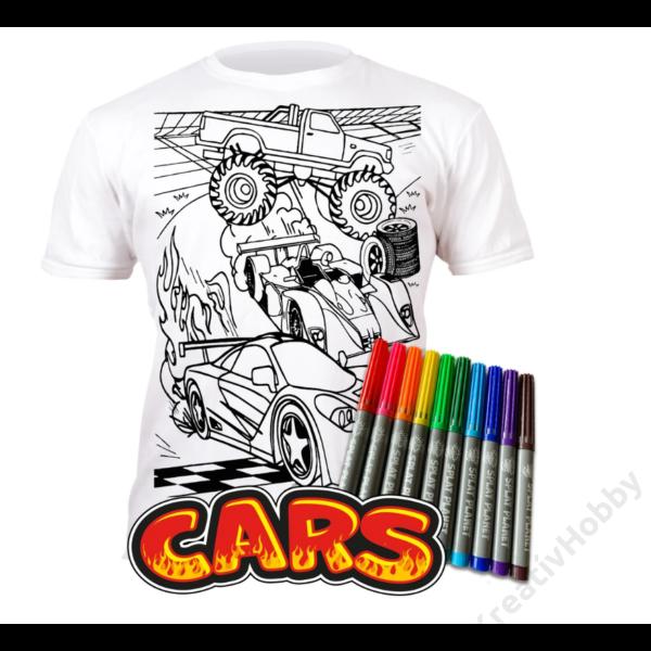 Színezhető pólók -Autók, korosztály 3-4
