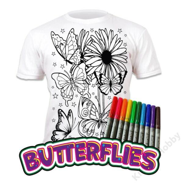 Színezhető pólók -Pillangók, korosztály 9-11