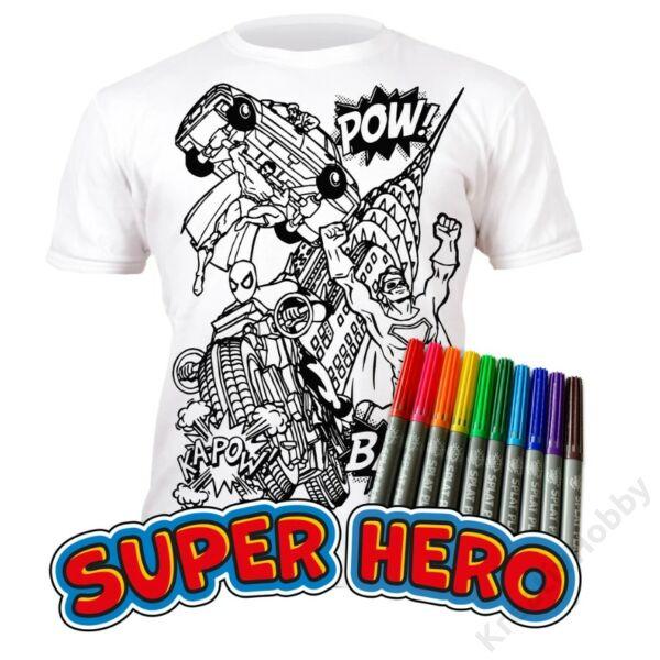 Színezhető pólók -Szuperhős, korosztály 9-11