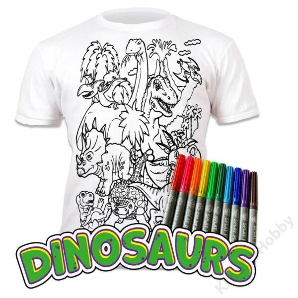 Színezhető pólók -Dinoszaurusz, korosztály 9-11