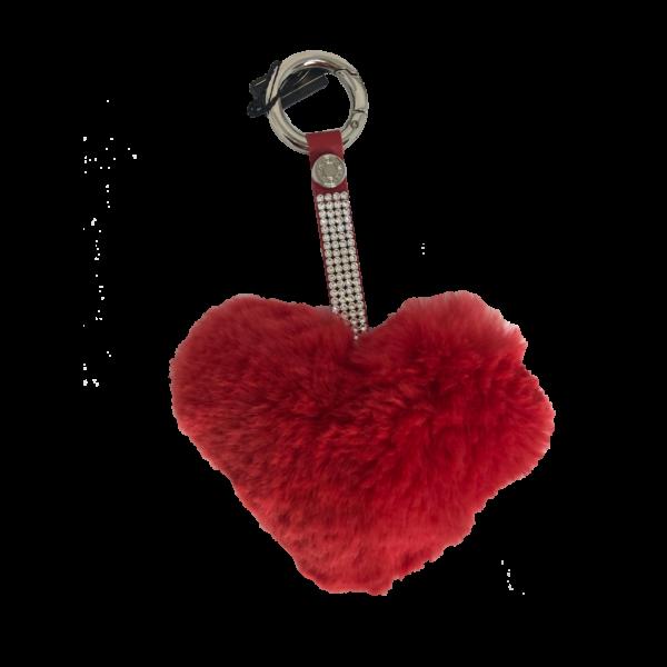 Pom pom szív 9,5*12cm Piros