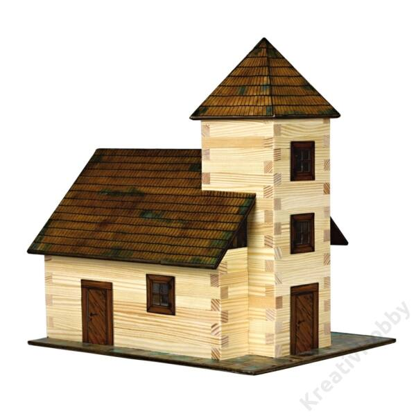 Fa építkezős játék - Templom